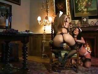 2 extremely hot lesbian maids playing with dildos