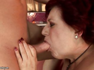 Hetty puts a young pecker over her knees and spanks it like a grandma should