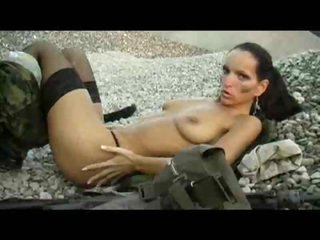 Military cutie masturbates her pussy outdoors