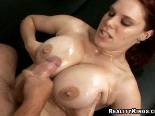 Super sexy Jolie Rain uses her large natural tits to jerk off schlong