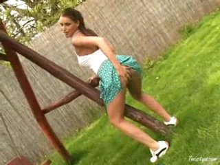 Marketa strips & masturbates outdoors
