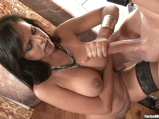 Busty porn star Diamond Kitty is milking a lucky man's cock and loves it