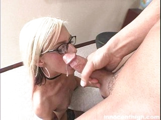 White babe Christine gets a load of hot cum discharged across her face.