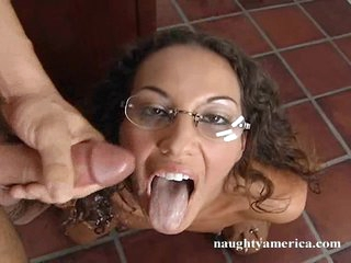 Hot playgirl Adriana Deville gets a load of hot jizz squirted in her mouth