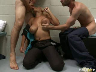 Porn star blonde Bridgette B enjoys hot blow job with mouth in threesome group