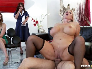 Karen Fisher has Ramon big hard cock for rent. She shows how to get pleasure sucking and fucking his prick in front of curious women. Watch her get her mature pussy drilled.