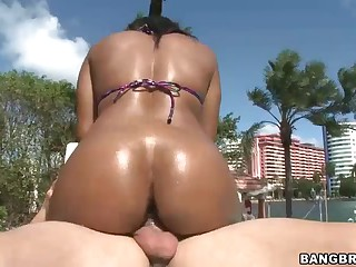 Dark skinned big ass chcik Imani Rose is the best one to spend time with by the pool fucking. They do in the sun on afternoon. Sexy assed wet Imani Rose loves his white dick in her juicy brown pussy.