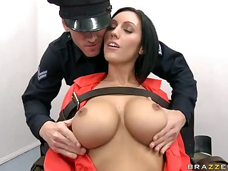 Huge titted brunette pornstar Dylan Ryder as condemned prisoner and Johnny Sins as sex hungry guard fuck on electric throne. Her last sex is her final request. Johnny is happy to help such a sexy busty prisoner with his big dick.