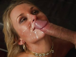Laura Crystal gets her face saturated with warm cum