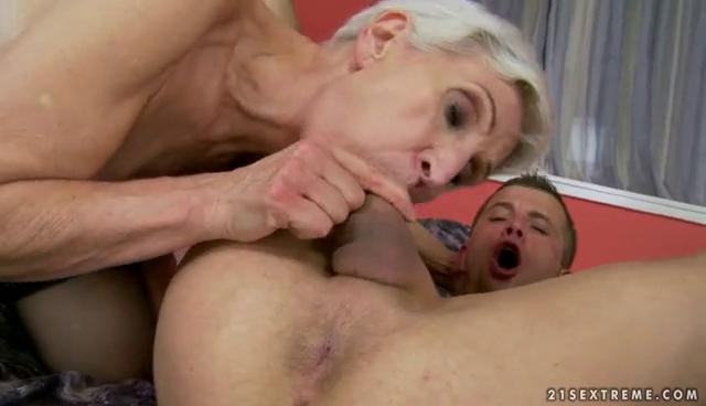 Hot granny enjoys sex with young man