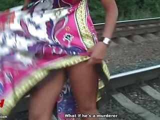 Sexy girlfriend flashing in public