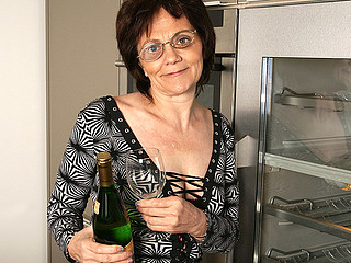 Horny older slut can't live without masturbating during the time that drinking champagne