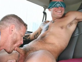 Blindfolded for a gay engulfing