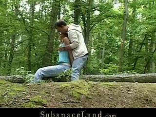 Claudie bound-up in the forest and fucked