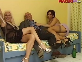 Busty tranny joined a couple of Italian lovers