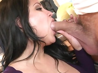 A busty milf is opening her legs up in the larder to be loved