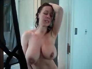 Hot breasty mother I'd like to fuck masturbating in the shower