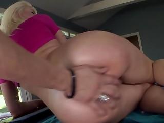 Impressive oiled up blonde porn star Anikka Albrite gets screwed
