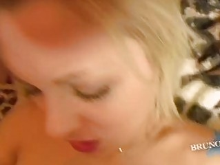 Heavy chested golden-haired with tattoo gets slammed hard in POV