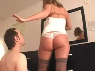 Cuckold rims his female-dominator while she puts makeup on