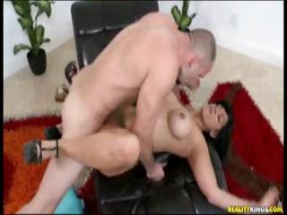 Busty brunette, with bubble butt, gets fucked hard by big cock