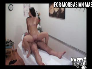Oriental masseuse gives a massage to a fat man then rides his schlong