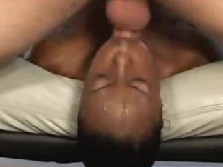 Messy face fuck and gagging with black girl
