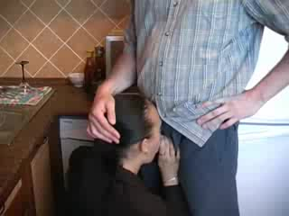Lustful milf in business clothes boned in kitchen