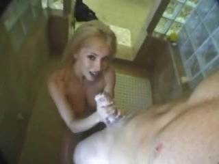 Hot dilettante gives a lusty BJ in the shower