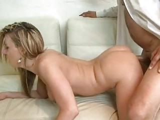 Pale golden-haired milf with natural bumpers receives shagged doggy style