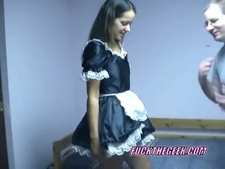 Slutty maid maria lifting her skirt and riding geek sweet dick