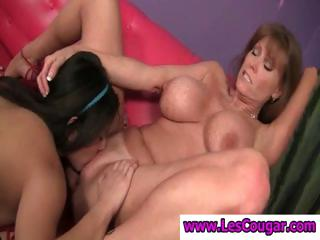 2 busty lesbians get together with cougar Darla Crane eating pussy