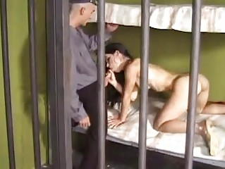 Tempting brunette hair beauty acquires hard cock up her tight ass in prison