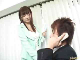 Oriental Secretary Giving A Hot Blowjob