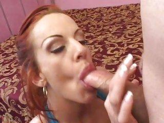 Raunchy redhead Shannon Kelly gobbles down a hard boner