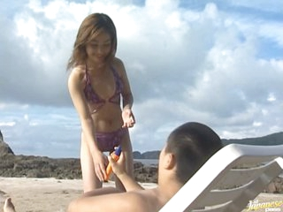 Hot Asian Babe Mami Receives Fucked and Facialized on the Beach
