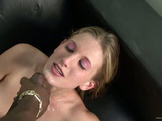 Saucy Ashley Fires gets her face splattered with spunk