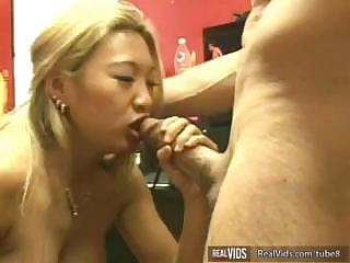 Nasty Asian slut makes perfect blow job to gets strong sperm load in mouth.