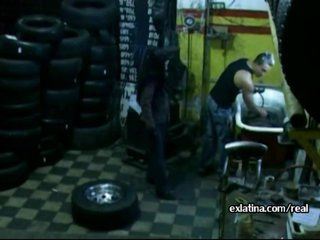 Mechanic pulls panties aside and fucks lalin girl GF