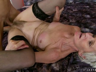 Rampant granny enjoys a rough bawdy cleft pounding