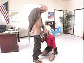 Blond babe Christine Alexis gets her mouth fucked by some monster meat