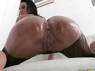 Franceska Jaimes' big wet butt is amazing. This busty breathtaker shows off her killer ass in the pool under water and then again indoors. She takes big cock of Manuel Ferrera deep in her asshole with wild desire.