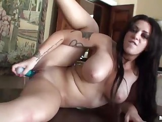 Hot bodied big boobed babe Melina Mason with long raven hair is here again to show her love for dildo. She toys her smooth pussy and exposes her sexy bod at the same time. Hot solo!