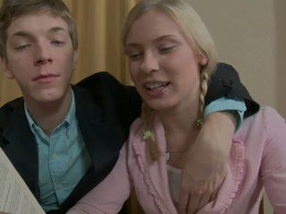 Keira and hot boy Matthew are tired of study. They would better spend time fucking. And they do it. Blonde chick unbuttons her blouse and bares her small perky tits for a guy...