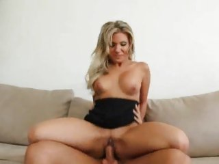 Vivacious Aubrey Adams bounces her pussy on a hard cock