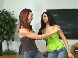 Sexy lesbian have strapon sex