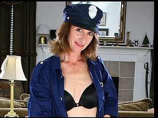 Nasty Anilos mother i'd like to fuck slips off her cop uniform and masturbates
