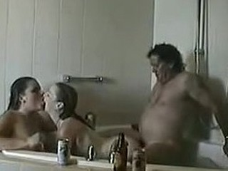 Incredible scene with a hot threesome in bathroom
