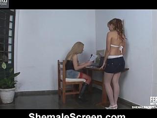 Rachel&Nikki cute shemale in action