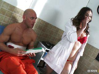 horny doctor starts sucking hard cock
